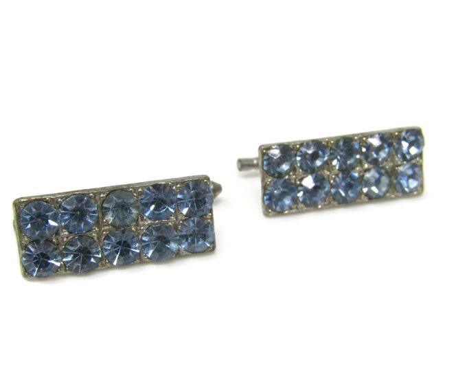Blue Jewels Shirt Stud Buttons Spring Design Vintage Silver Tone