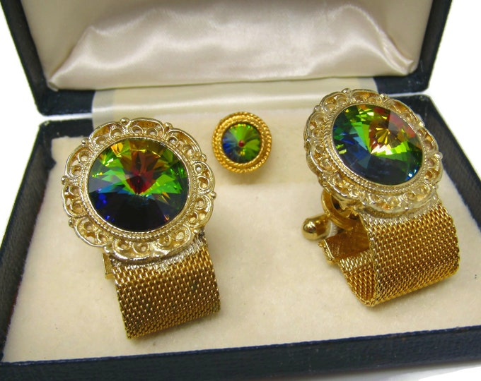 Men's Cufflinks and Tie Tack Pin Set Gorgeous Colorful Centers High Quality