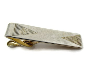 Vintage Tie Clip Tie Bar: Flower Etched Grooved Triangle