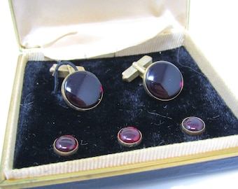 Men's Cufflinks and Studs Vintage Set Gorgeous Deep Red High Quality
