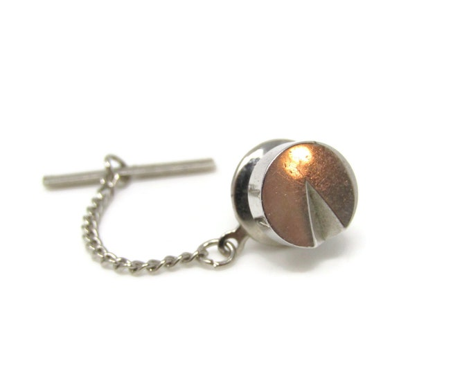 Circle with Wedge Missing Tie Tack Pin Silver Tone Vintage Men's Jewelry Nice Design