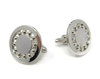 Wheel Ball Design Men's Cufflinks: Vintage Silver Tone - Stand Out from the Crowd with Class