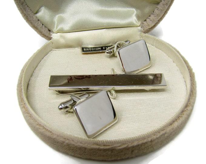 Men's Cufflinks and Tie Bar Set Vintage Rhodium Finish Great Classic Design Nice Quality