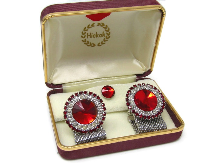 Men's Cufflinks and Tie Tack Pin Set Vintage Best Set We Have Gorgeous Red Jewels Made in USA High Quality