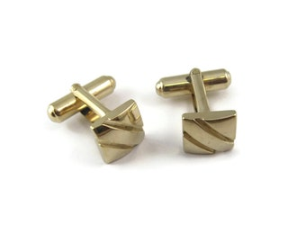 Art deco vintage retro champagne gold silver tone metal mens gents cufflinks etch finish  blank cartouche mint condition