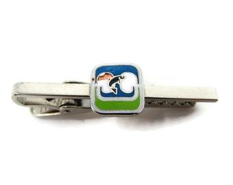 Vintage Tie Clip Tie Bar: Jumping Fish Blue Green Enamel Logo (Piece Missing)