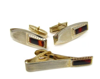 Retro Brown Accent Cufflinks Tie Bar Jewelry Set Vintage Great Design Nice Quality Gold Tone