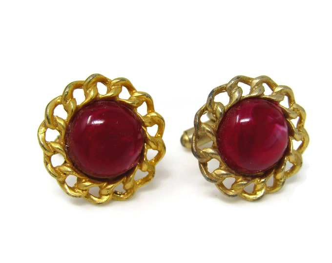 Vintage Cufflinks Red Dome Center Link Border Gold Tone See Through