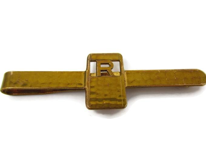 Vintage Tie Clip Tie Bar: Rare Letter R Initial Hammered Texture Dirigold Giant Grip