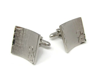 Flower Etch Curved Body Men's Cufflinks: Vintage Silver Tone - Stand Out from the Crowd with Class
