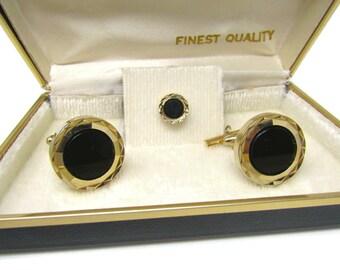 Men's Cufflinks Set w/ Tie Tack Pin Vintage Gorgeous High Quality Black Onyx Center