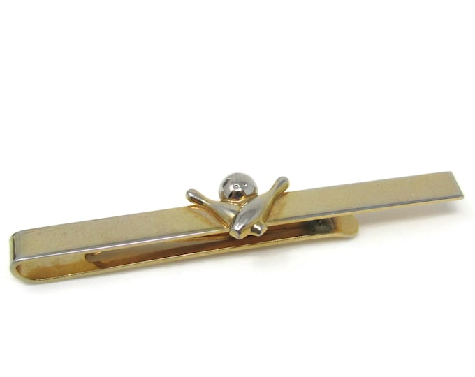 Bowling Bowler Gift Tie Clip Bar Gold Tone Vintage Men's Jewelry Nice Design