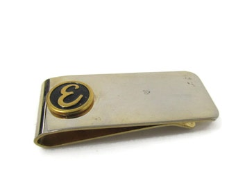 Letter E Initial Money Clip Vintage Gold Tone Script Font Design