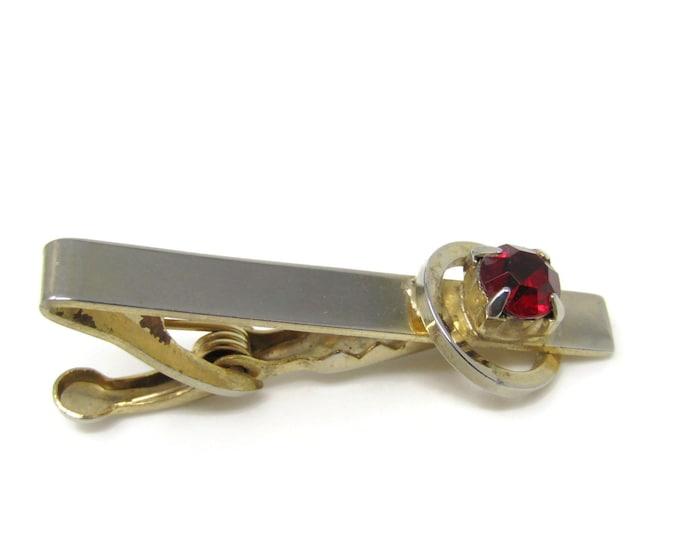 Red Jewel Ring Design Tie Clip Bar Gold Tone Vintage Men's Jewelry Nice Design