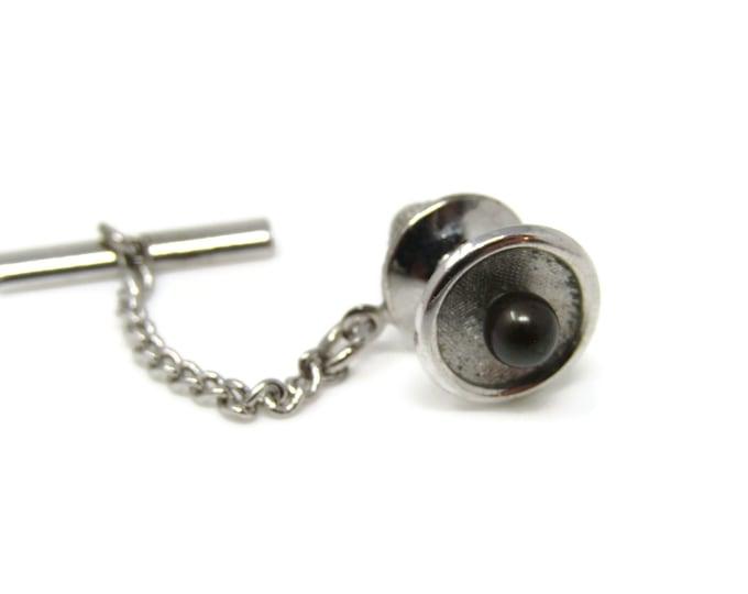 Dark Ball on Dish Tie Tack Pin Silver Tone Vintage Men's Jewelry