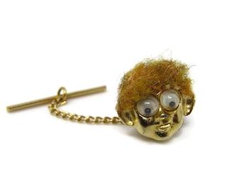 Vintage Tie Tack Tie Pin: Brown Hair Googly Eyes Face Head Amazing Design
