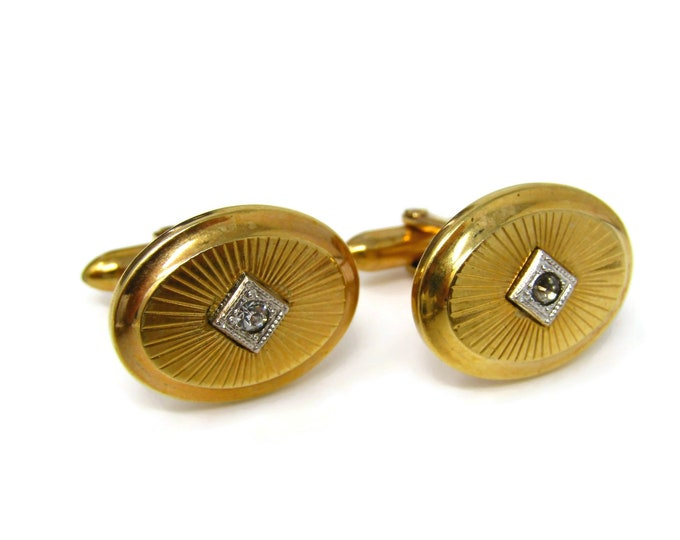 Vintage Cufflinks for Men: Gorgeous Gold Tone Clear Jewel Center Nice Quality by Vanguard