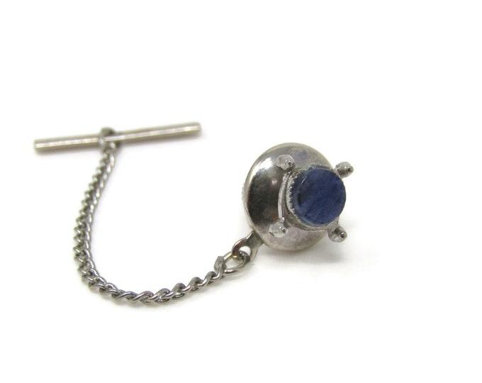 Small Blue Sodalite Tie Tack Pin Silver Tone Vintage Men's Jewelry
