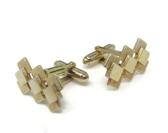 Vintage Cufflinks for Men: Overlapping Diamond Shapes- Stand Out with Style - Fit in with Class