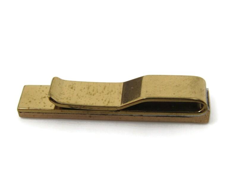 V Wedge Groove Tie Clip Bar Gold Tone Vintage Men/'s Jewelry Nice Design