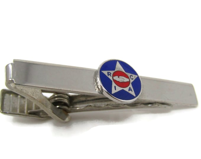RIAC Handshake Logo Design Tie Bar Clip Silver Tone Stand Out w/ Style Fit In with Class