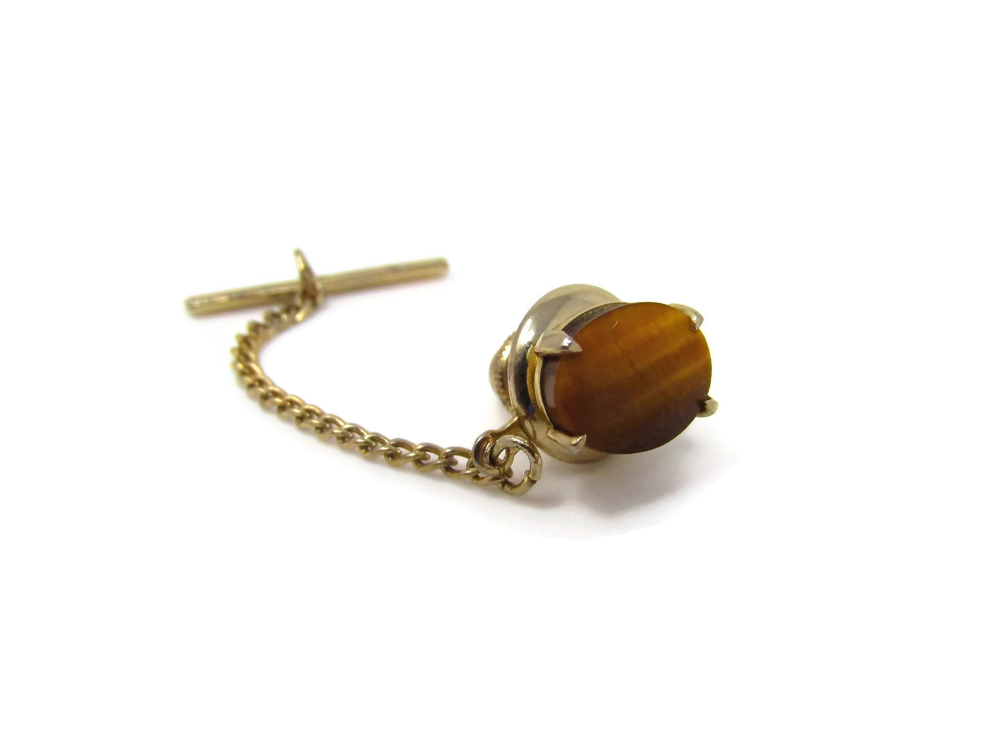 Real Tiger Eye Tie Tack Gold Tone And Stone Tie Tack Tigers Eye Stone Tie Clip Gold Tie Pin For Man Mens Jewelry