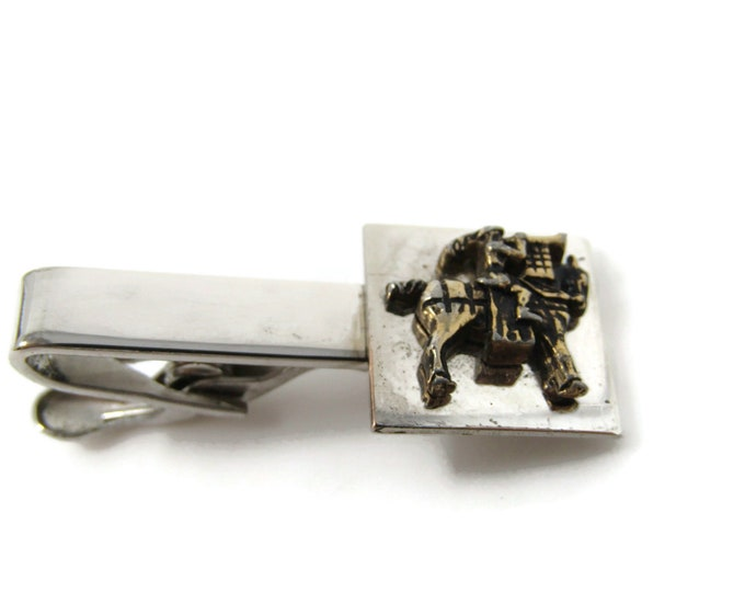 Man on Horseback Horse Tie Bar Clip Vintage Silver Tone Stand Out w/ Style Fit In with Class