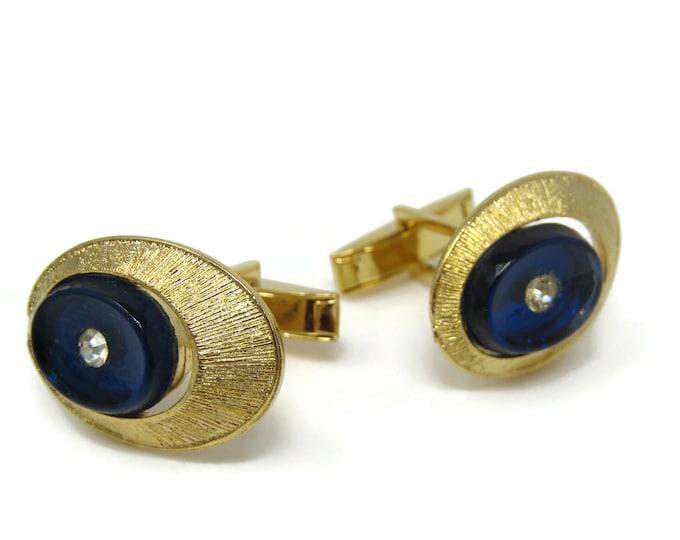 Clear Jewels Blue Setting Cufflinks for Men's Vintage Men's Jewelry Nice Design