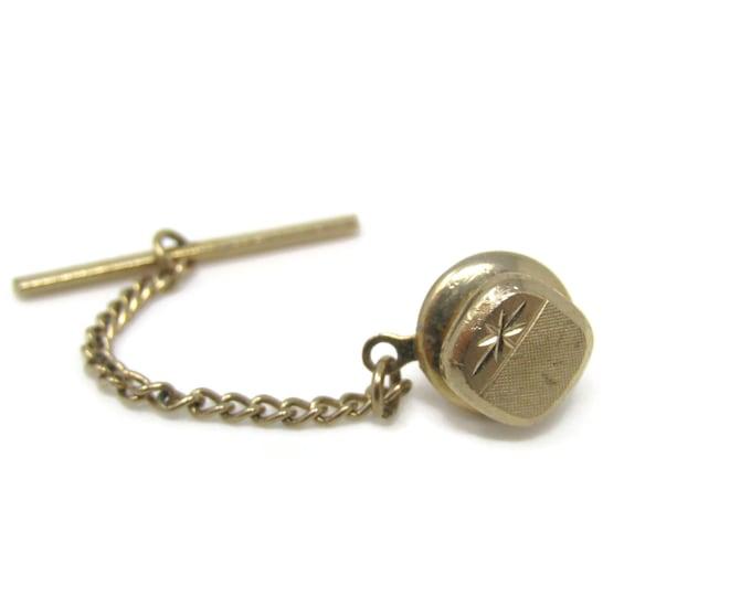 Star Etch Tie Tack Pin Vintage Men's Jewelry Nice Design