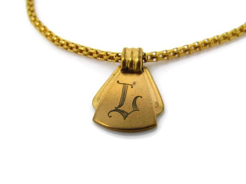 Letter L Tie Clip Vintage Tie Bar Initial L Amazing Design High Quality Chain Gold Tone