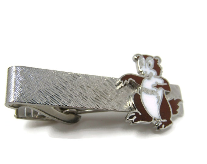 Henry Bear Tie Bar Clip Vintage Silver Tone Stand Out w/ Style Fit In with Class