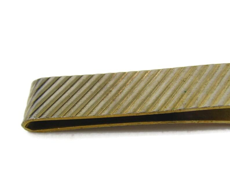 Cool Tie Bar Tie Clip Vintage Diagonal Ridge Gold Tone