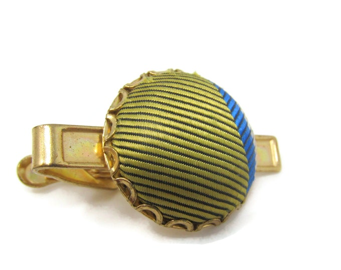 Fabric Circle Yellow & Blue Tie Bar Clip Vintage Gold Tone Stand Out w/ Style Fit In with Class