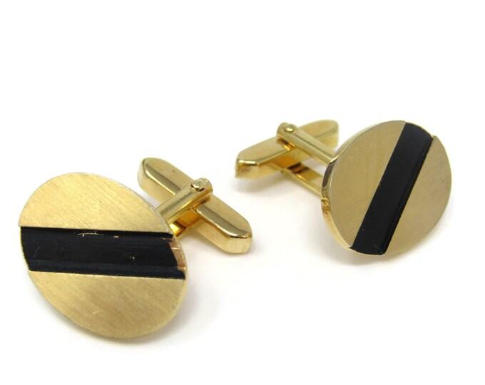 Oval Black Stripe Cufflinks for Men's Vintage Men's Jewelry Nice Design