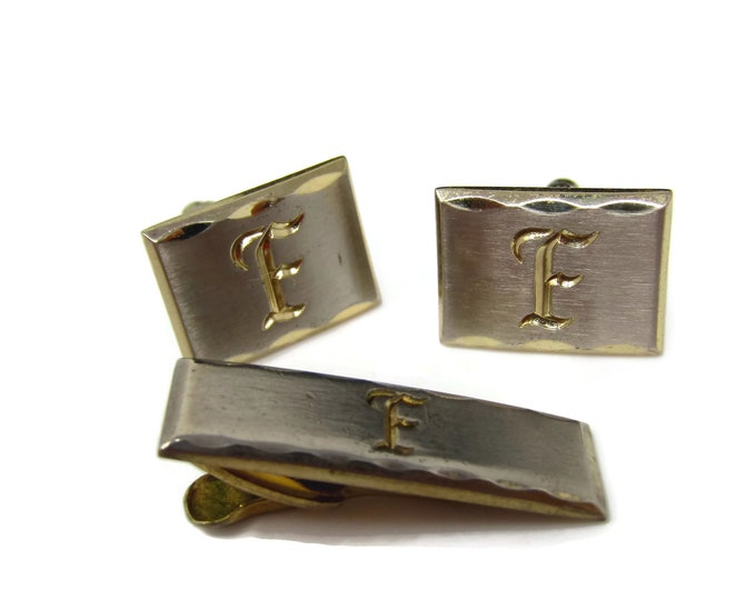 Vintage Mens Jewelry Set Tie Clip Cufflinks: Letter F Initials Beautiful Calligraphy Made in USA