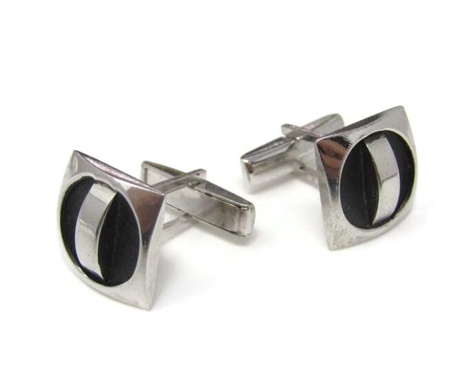 Vintage Cufflinks for Men: Modernist Industrial Design Silver Tone & Black