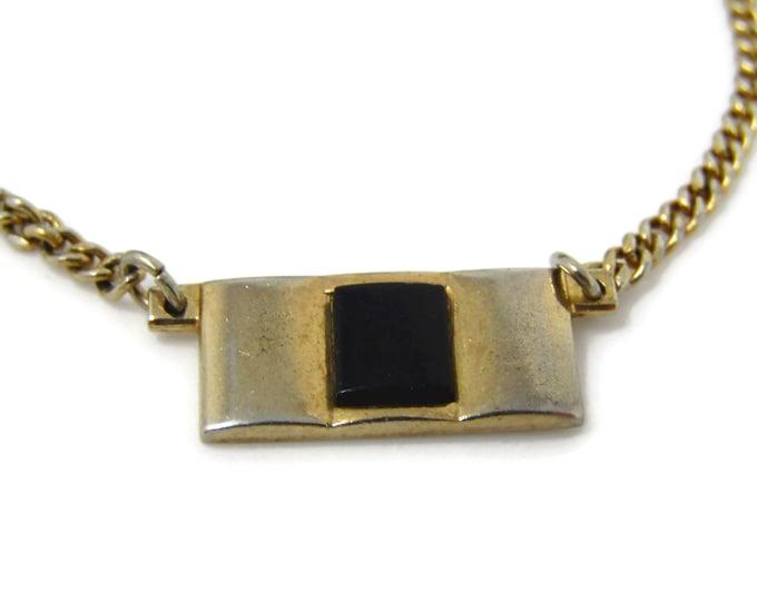 Onyx Medallion Tie Clip Men's Vintage Tie Bar Gold Tone