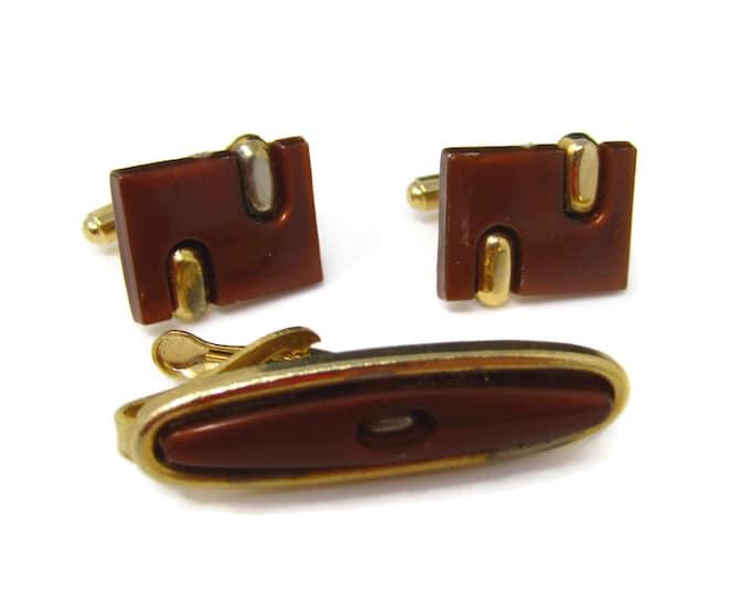 Vintage Mens Jewelry Set Tie Clip Cufflinks: Brown Modernist Gold Tone Design