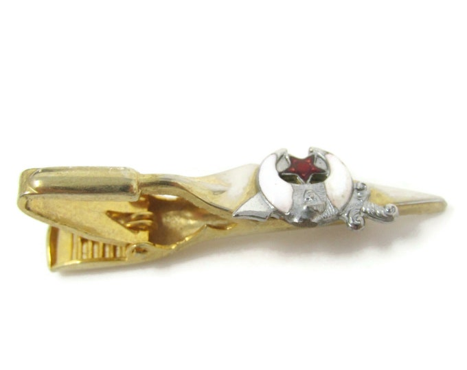 Mason Shriner Tie Bar Clip Vintage Gold Tone Stand Out w/ Style Fit In with Class