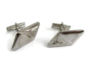 Vintage Cufflinks for Men: Silver Tone Parallelogram Textured Smooth