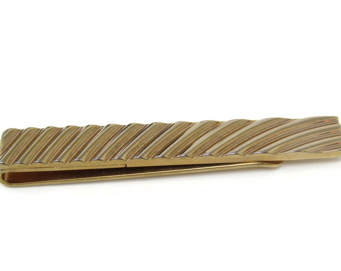 Curved Grooves Tie Bar Clip Gold Tone Stand Out w/ Style Fit In with Class