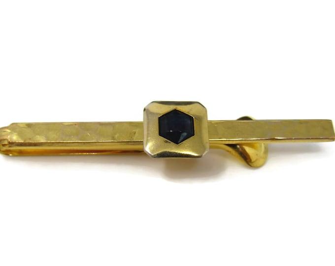 Vintage Tie Clip Tie Bar: Rare Nulok Plate Hammered Texture Art Deco Black Accent Nice Quality
