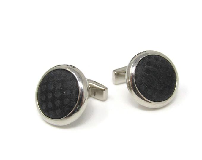 Vintage Cufflinks for Men: Black Fabric Silver Tone Border Design