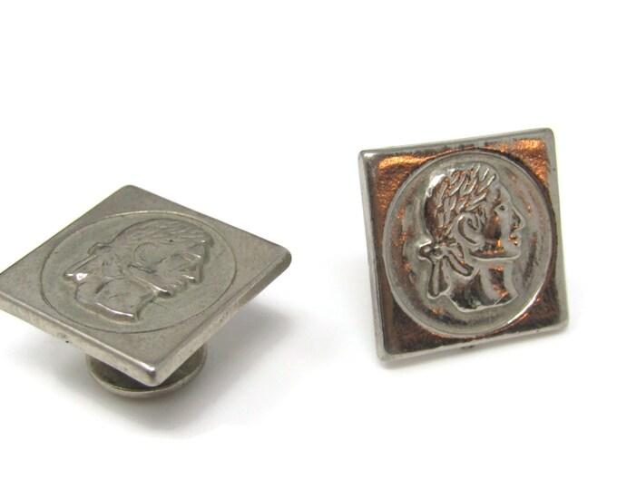 Vintage Cufflinks for Men: Man Profile Aluminum Fixed Post Pilgrim Like Design