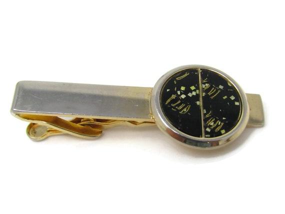 Vintage Tie Clip Tie Bar Modernist Black /& Silver Tone Design Excellent