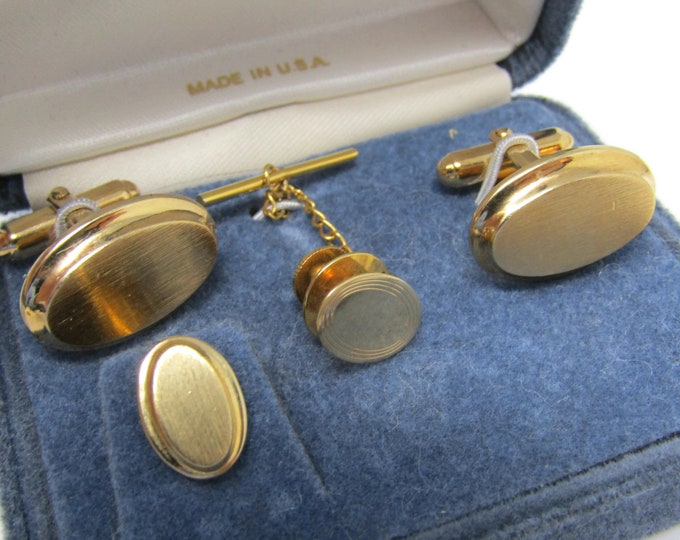 Men's Jewelry Set Cufflinks Tie Tacks (Center Tack is 14K Gold): Vintage Gold Tone - Stand Out from the Crowd with Class