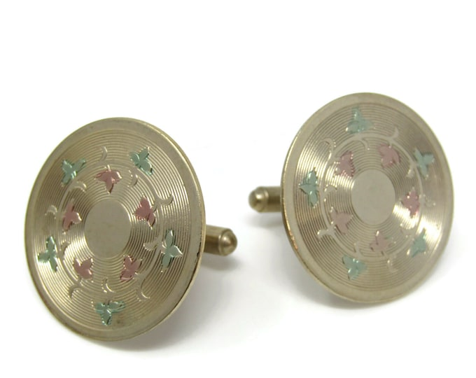 Round Circle Colored Flowers Cufflinks for Men's Vintage Men's Jewelry Nice Design