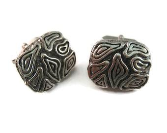 Vintage Cufflinks for Men: Amazing Brain Like Art Silver Tone Design