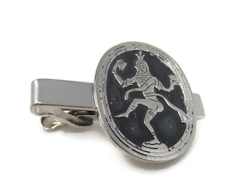 Indian Hindu God Shiva Tie Clip Bar Faded Silver Tone Vintage Men's Jewelry Nice Design