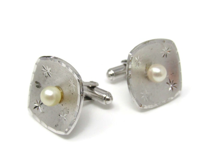 Vintage Cufflinks for Men: Pearl Center Silver Tone Dish Style